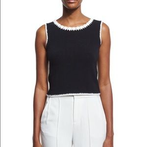 Alice + Olivia Daniela Macrame-Trim Crop Top